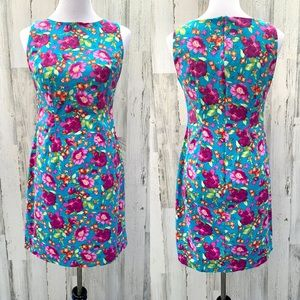 Vintage 90s Teal Floral Sleeveless Sheath Dress